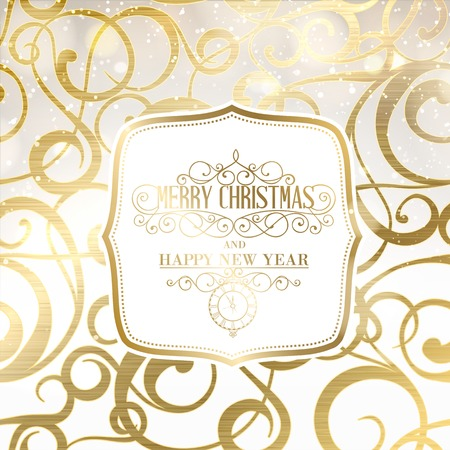 Abstract gold holiday background with christmas greeting text. Vector illustration. Vector