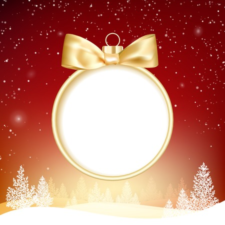 hristmas: Golden hristmas ball on background with forest in snow and hills. Vector illustration.