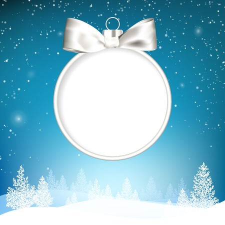 hristmas: Golden hristmas ball with forest in snow and hills on blue background. Vector illustration.