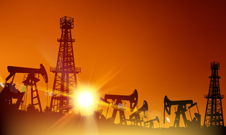 oilwell: Oil derrick industrial machine for drilling at the sunset. Vector illustration.