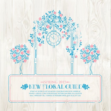 wedding table decor: Rose garden with trees and arch flowers, text template over wooden texture. Vector illustration. Illustration