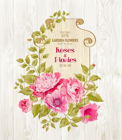 chik: Pink peony background with a vintage label over wooden wall. Vector illustration..