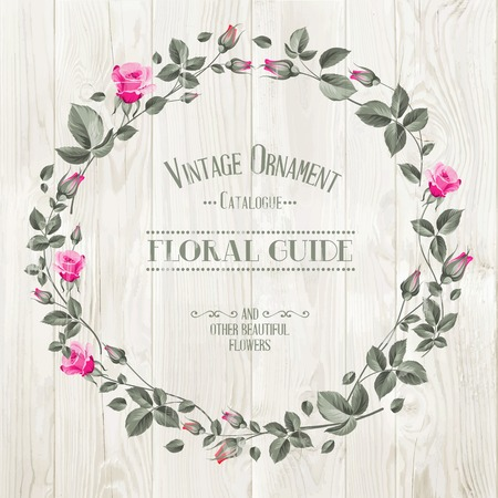 wedding table decor: Floral Guide Print over gray wooden texture. Vector illustration.