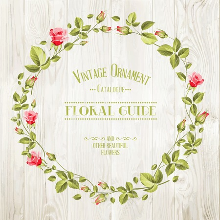 provence: Floral Guide Print over wooden texture. Vector illustration.