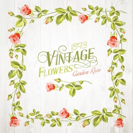 Vintage flower frame over wooden background. Vector illustration. Vector