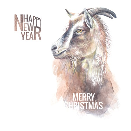 New year painting goat with horns, the new year simbol of 2015. Vector illustration. Vector