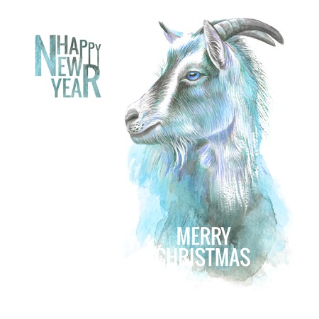 capra: New year painting goat with horns, hand-drawing, the new year simbol. Vector illustration.