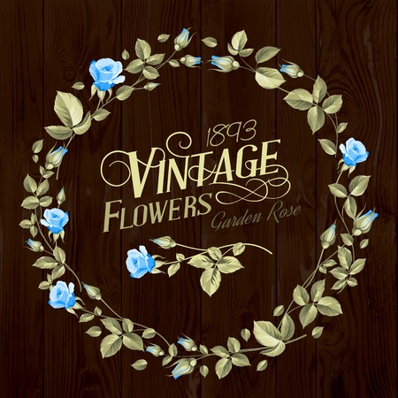 chik: Vintage Flowers print over brown wooden texture. Vector illustration.