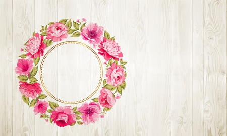 flower border pink: Border of flowers in vintage style over wooden texture. Vector illustration.