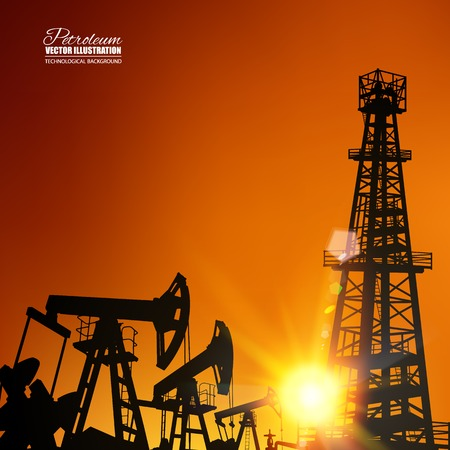 Oil derrick industrial machine for drilling at the sunset. Vector illustration.