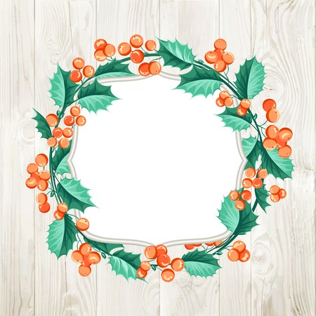 chik: Merry christmas wreath over wooden wall isolated on white background. Vector illustration. Illustration