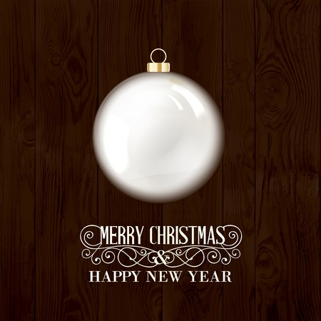 chik: Toy ball for holiday fir-tree over wooden background. Vector illustration.