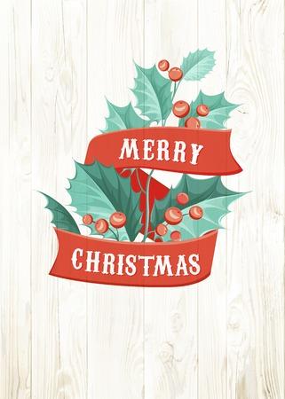 chik: Christmas mistletoe branch isolated over wooden background. Vector illustration.
