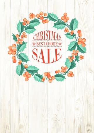 chik: Floral mistletoe frame  with decorative elements on wooden background. Vector illustration.