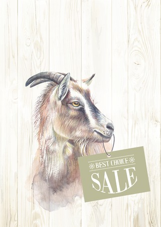 New year painting goat with sale text. Vector illustration.
