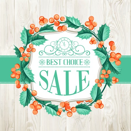chik: Merry christmas with sale text and  wreath over wooden wall. Vector illustration.