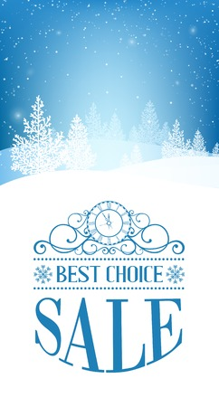 Christmas forest over winter snow with text best choice, sale. Vector illustration. Vector