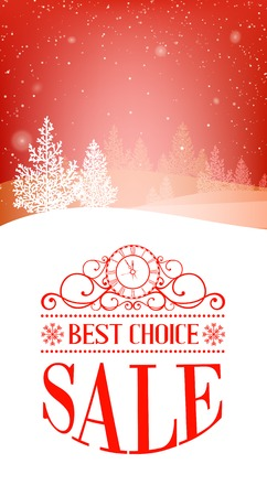 house clearance: Christmas forest over winter snow with text best choice, sale. Vector illustration.