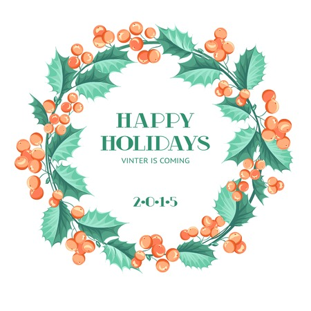 Christmas mistletoe wreath over white background in vintge style. Vector illustration. Vector