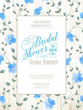 Bruids uitnodiging van de Douche met bloemen over houten patroon. Vector illustratie.