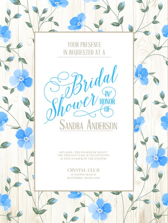 blue flowers: Bridal Shower invitation with flowers over wooden pattern. Vector illustration.