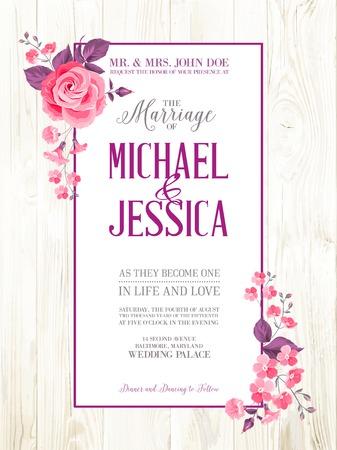 Afdrukbare vintage uitnodiging van het huwelijk met bloemen over houten patroon. Vector illustratie.