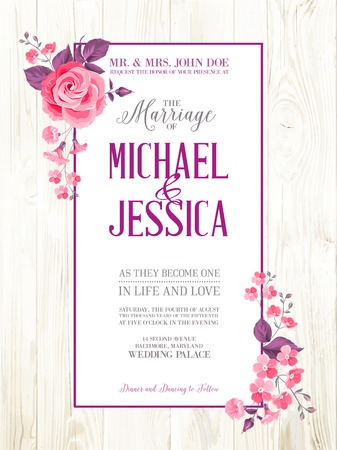 Printable vintage marriage invitation with flowers over wooden pattern. Vector illustration.
