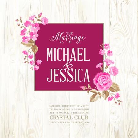 madera: Tarjeta de invitaci�n de boda con se�al de costumbre y marco de flores sobre fondo de madera. Ilustraci�n del vector.