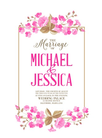 christening: Marriage invitation card with calligraphyc sign isolated over white backgroud. Vector illustration.