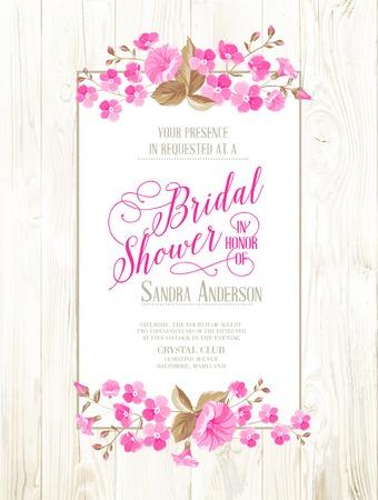 Bridal shower invitation with ivory background on wooden pattern, vintage floral invitation for spring or summer bridal shower. Vector illustration. Vector