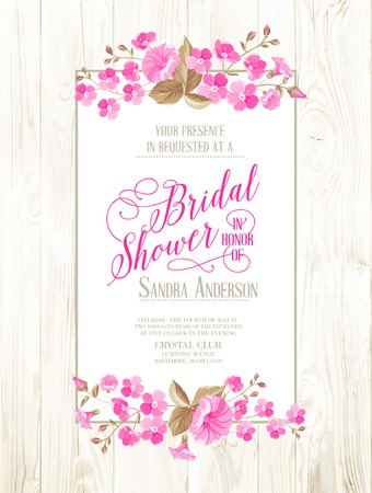 Bridal shower invitation with ivory background on wooden pattern, vintage floral invitation for spring or summer bridal shower. Vector illustration.