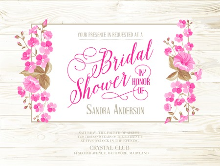 Bridal shower invitation with ivory background on wooden pattern, vintage floral invitation for spring or summer bridal shower. Vector illustration. Ilustracja