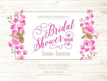 Bruids douche uitnodiging met ivoren achtergrond op houten patroon, vintage bloemen uitnodiging voor de lente of de zomer bruids douche. Vector illustratie.