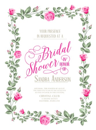 Bridal Shower invitation with flowers over white paper. Vector illustration.  イラスト・ベクター素材