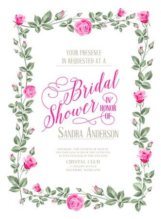 Bridal Shower invitation with flowers over white paper. Vector illustration. Stock Illustratie