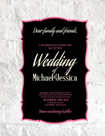 wedding card design: Wedding Card and engagement announcement. Wedding of Michael and Jessica. Vector illustration.