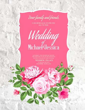 printable: Wedding Card and engagement announcement. Wedding of Michael and Jessica. Vector illustration.