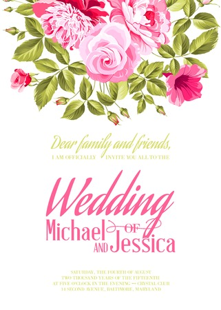 woman shower: Wedding Card and engagement announcement. Wedding of Michael and Jessica. Vector illustration.
