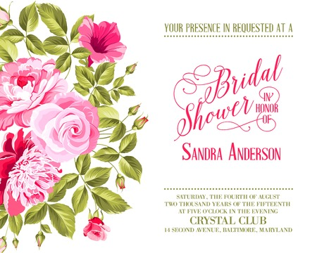 Bridal Shower invitation with flowers over white background. Vector illustration.