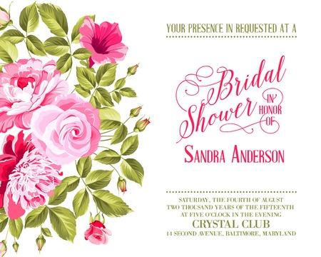bridal shower: Bridal Shower invitation with flowers over white background. Vector illustration.