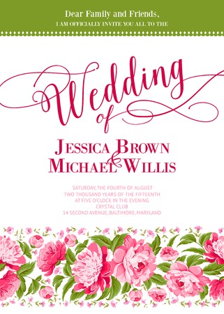 Bruiloft uitnodiging kaart met aangepaste bord en bloem frame op wit. Vector illustratie.