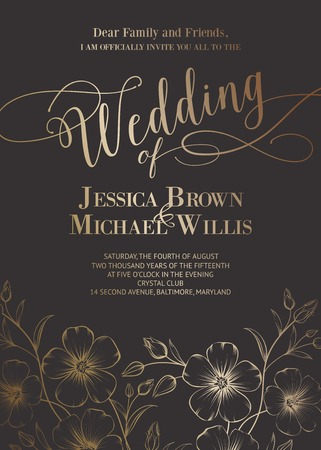 invites: Awesome wedding invitation with generic text for your design over gray background. Vector illustration.