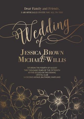 Fantastische Hochzeitseinladung mit generischen Text für Ihren Entwurf auf grauem Hintergrund. Vektor-Illustration. Illustration