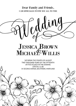 bridal shower: Awesome wedding invitation with generic text for your design isolated over white. Vector illustration.
