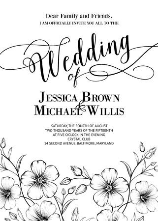 rosas negras: Invitaci�n de la boda impresionante con texto gen�rico para su dise�o aislados en blanco. Ilustraci�n del vector.