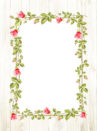 Wedding flower frame with flowers over white. Vector illustration. Vettoriali