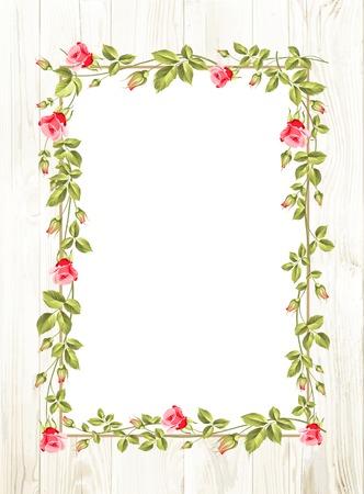 red rose border: Wedding flower frame with flowers over white. Vector illustration. Illustration