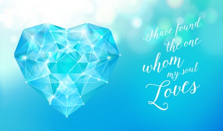 ruby stone: Valentines day blue diamond for your design, template. Vector illustration. Illustration