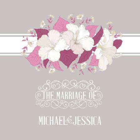mariage: Invitation de mariage avec des fleurs imprimable sur fond gris. Vector illustration.