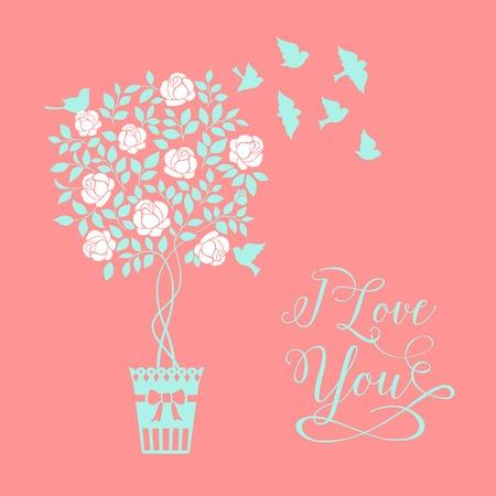 chik: Rose garden tree with birds over color background with elegant I love you sign. Vector illustration.
